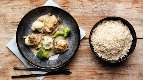 Mjölkbakad kyckling med ris