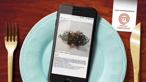 Mosaik på havskräftor, tomatkräm, flytande tomatgelé och basilikaflarn