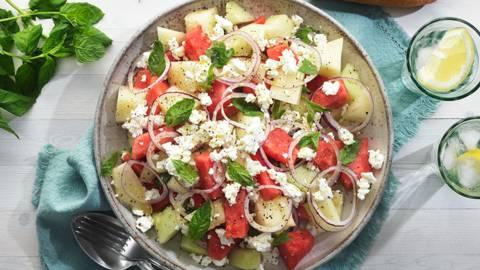 Melon-& fetaostsallad