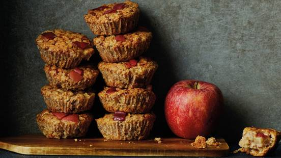 Frukostmuffins med äpple och havre