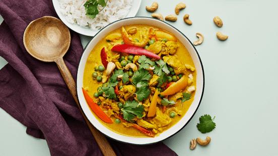 Kycklinggryta med curry och cashewnötter