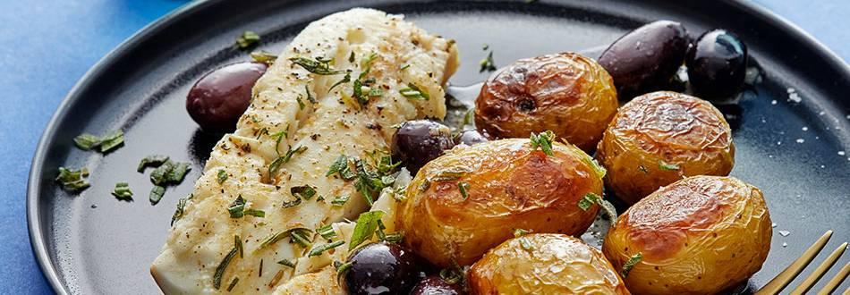 Stekt torsk med oliv- och rosmarinsås