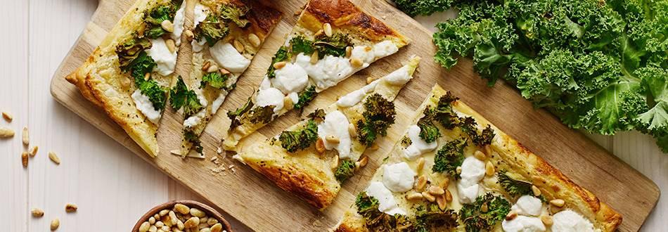 Grönkålspizza med getost